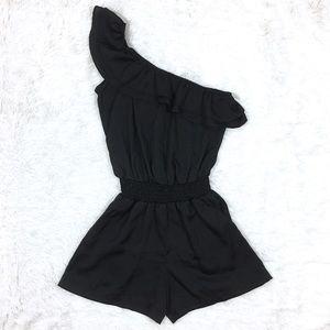 UO Sparkle & Fade Black One Shoulder Ruffle Romper